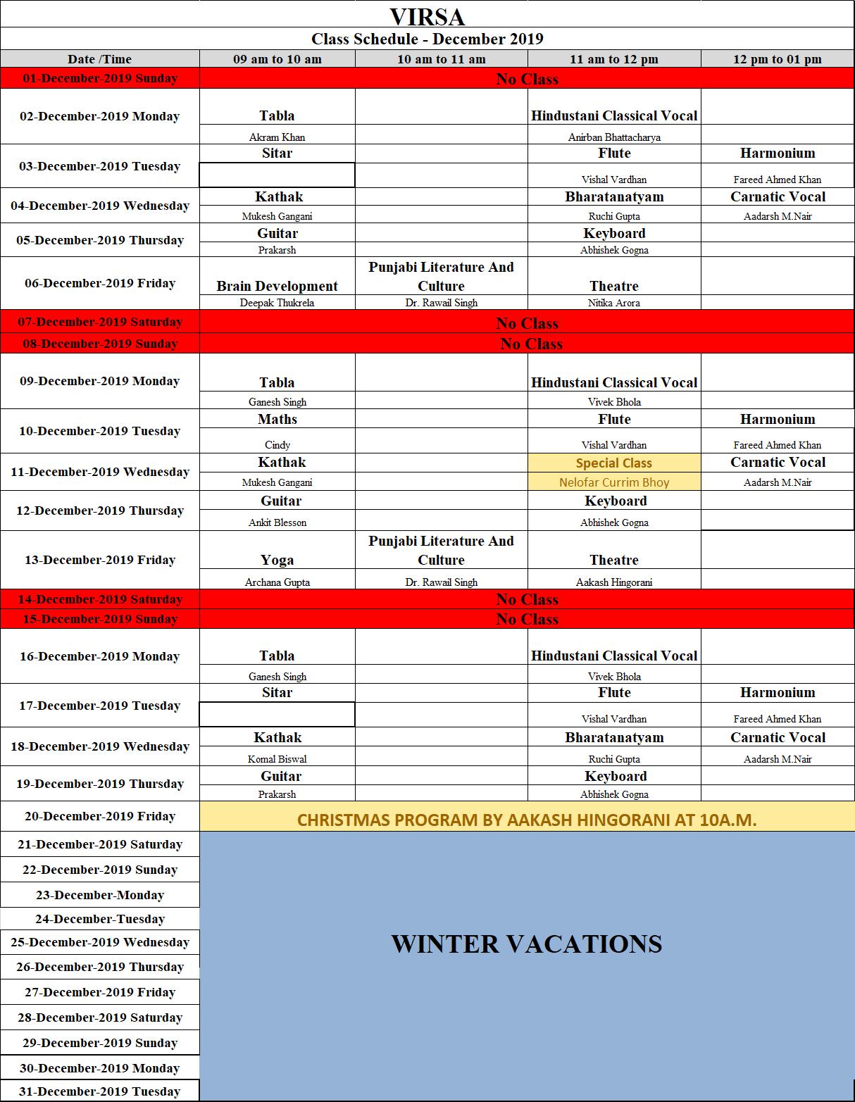 Schedule December 2019