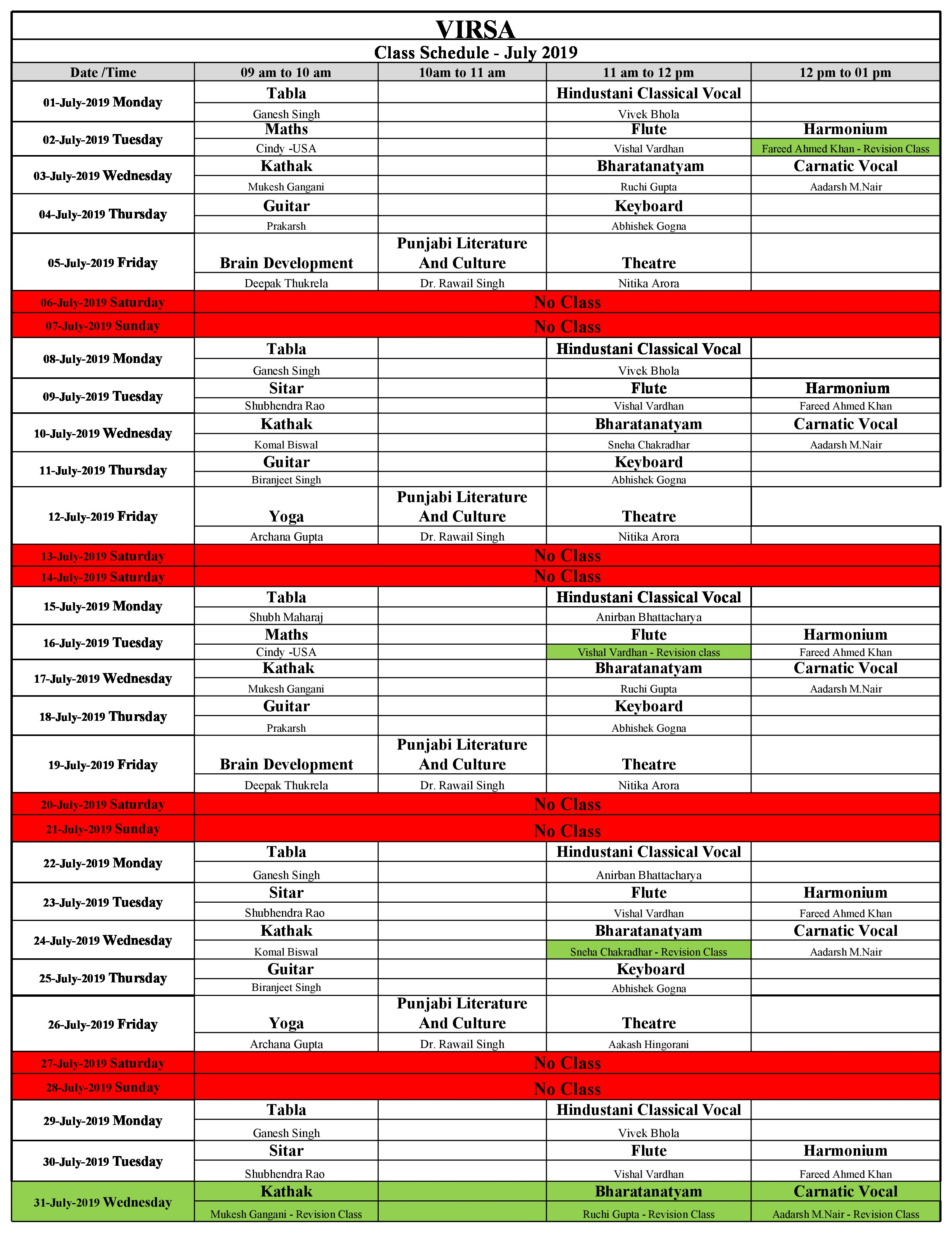 Schedule July 2019