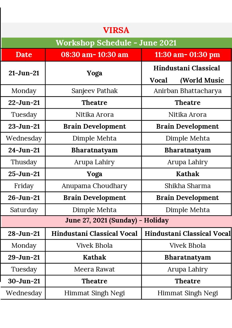 Schedule Workshops June 2021