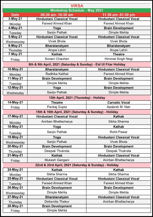 Schedule Workshops May 2021