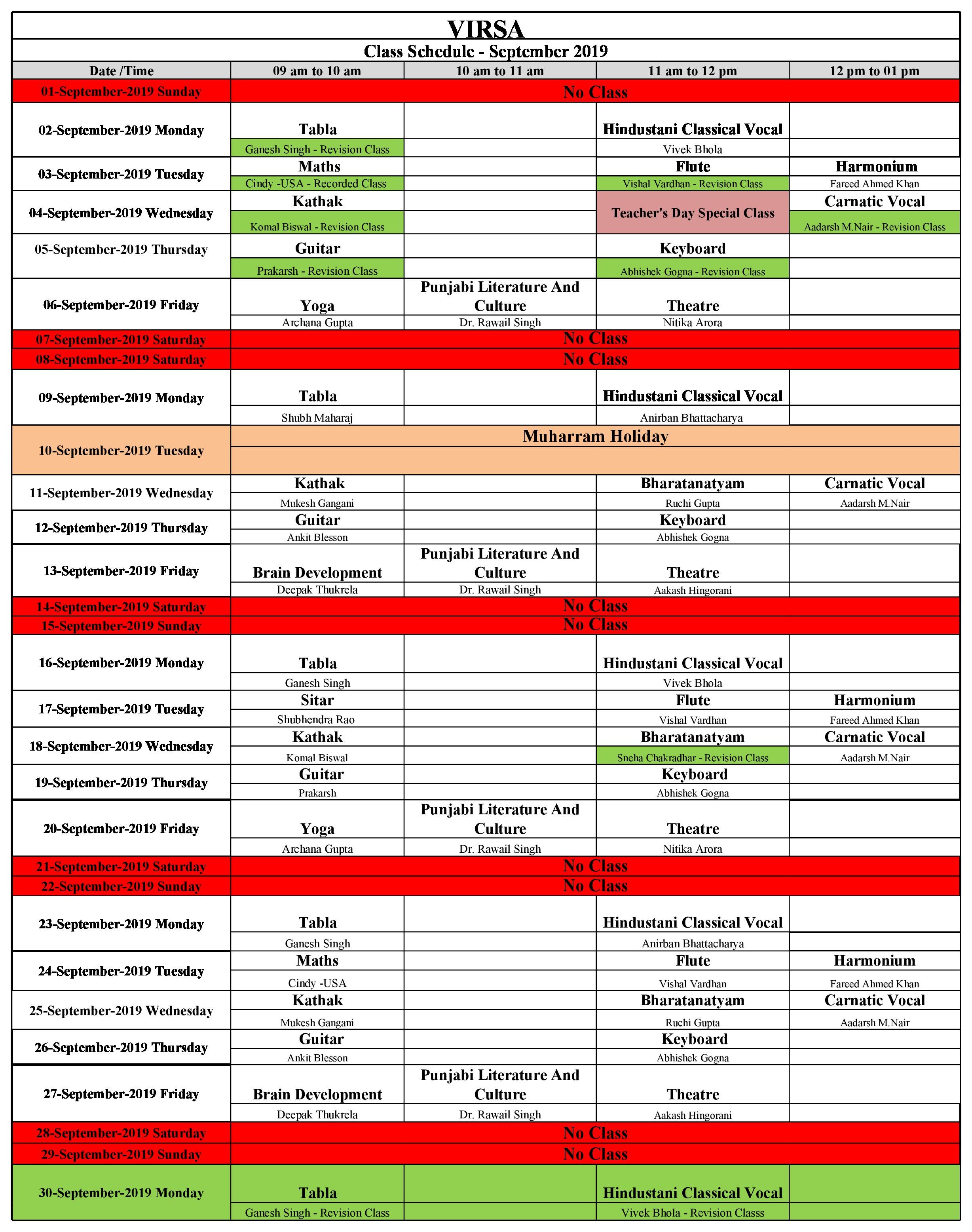Schedule September 2019